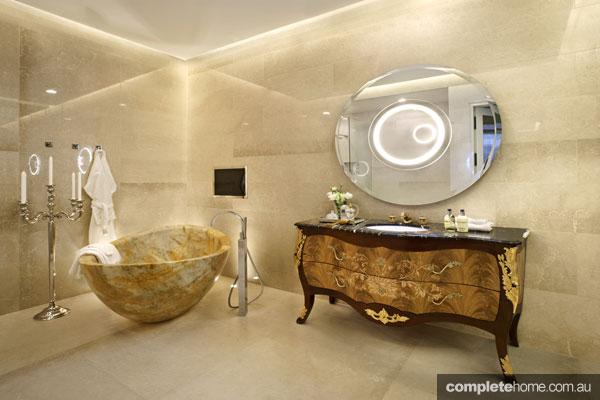 Luxury bathroom with marble bath