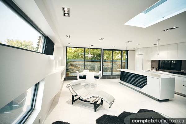 Compact, concrete living birdseye