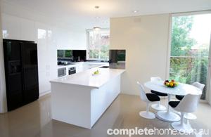 Black white and bright kitchen
