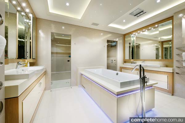 A luxury bathroom designed by Corian