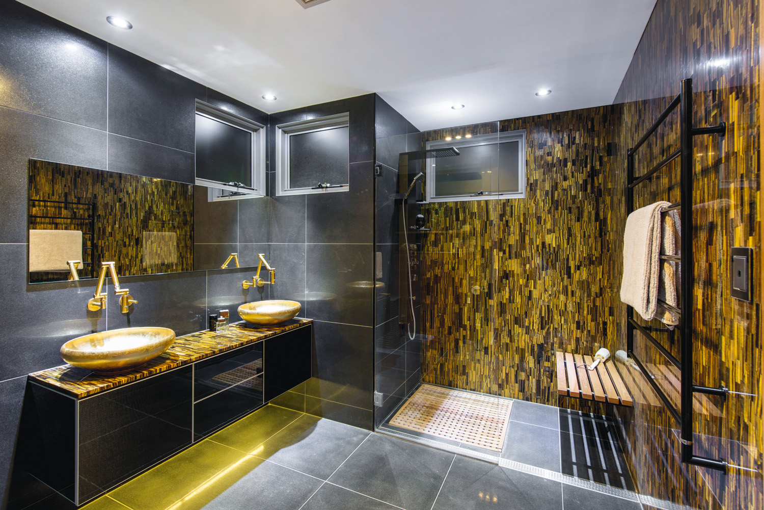 Black and gold luxury bathroom