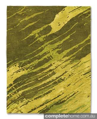 Minimal cool green rug