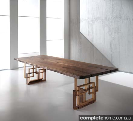 Minimal cool walnut dining table