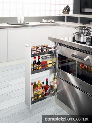 Sauce storage: Hafele base cabinets