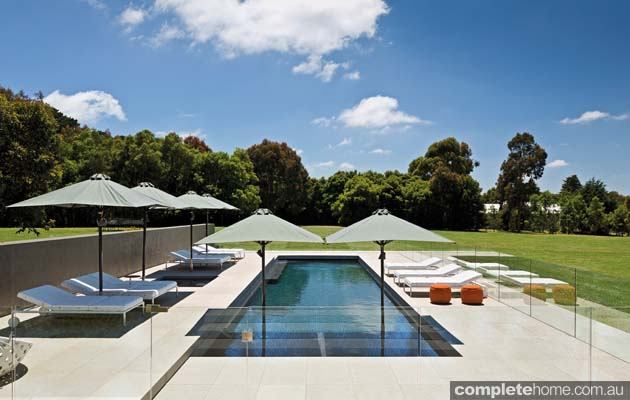 contemporary resort style pool in rural mornington peninsula completehome