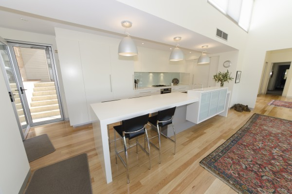Light colours used for a minimalist kitchen designed by Goolwa Kitchens
