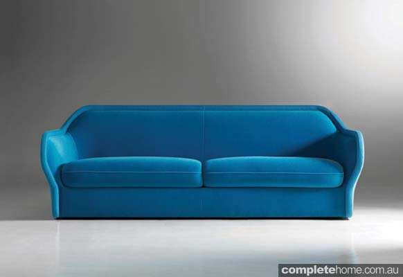 Minimal cool bardot blue couch