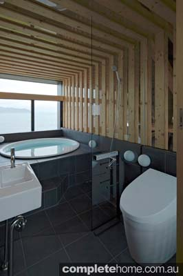 Modern japanese bathroom - timber