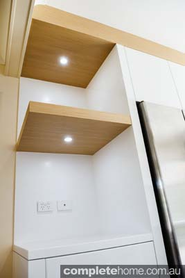 Modern kitchen shelving - timber with built-in lights