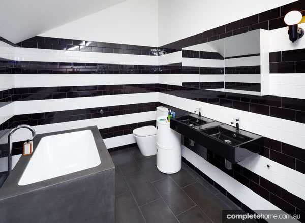 A black and white bathroom design.