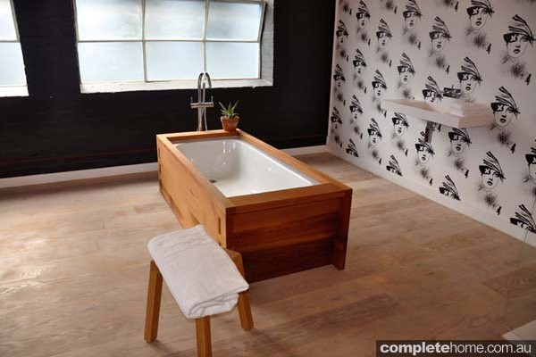 Cedar recycled freestanding bath.
