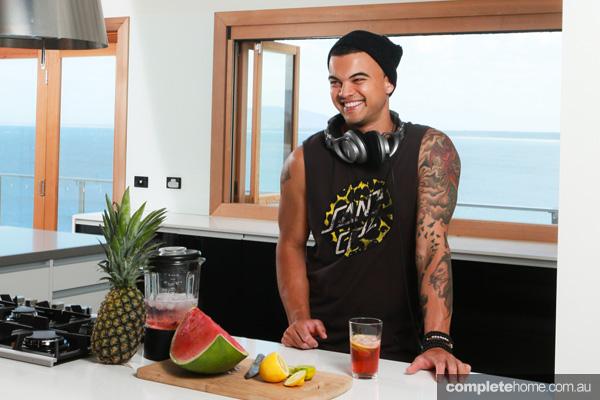Guy Sebastian in his kitchen