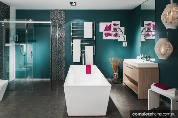 This modern bathroom from First Choice Warehouse has a dazzling design.