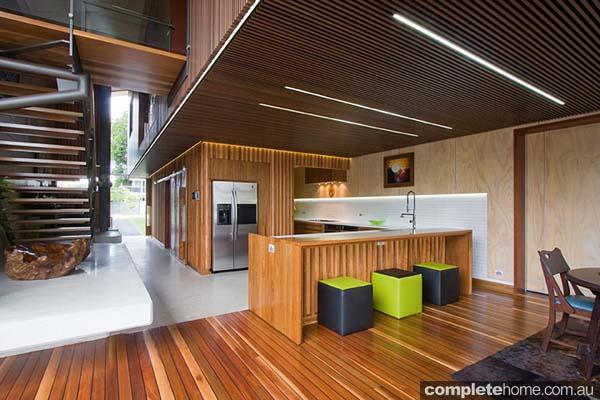 A timber kitchen design from Garsden & Clarke Kitchens.