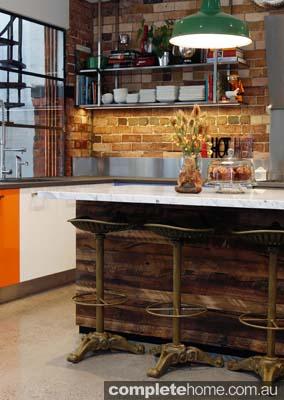 A beautiful wooden island kitchen counter.