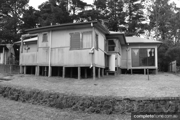 The modern timber tree house before it was remodeled.