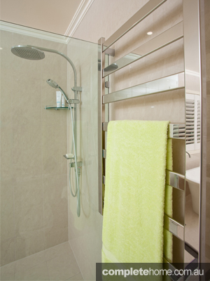 Stainless steal towel rack and seamless shower.