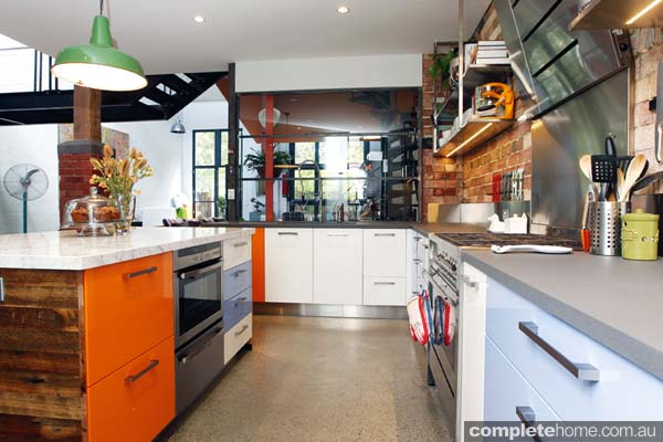 Vintage and modern blend beautifully in this kitchen design.