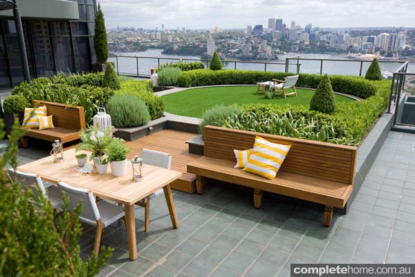 A luxury rooftop outdoor room from Secret Gardens.