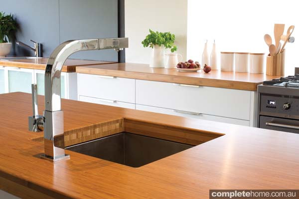 Sink set in a bamboo benchtop