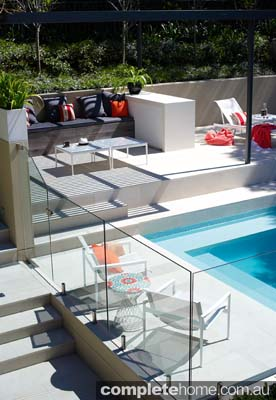 A chic pool and outdoor living area from Secret Gardens of Sydney.