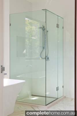 Frameless shower screen from Euroglass.