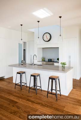A minimalist white kitchen design from Kitchens Victoria.