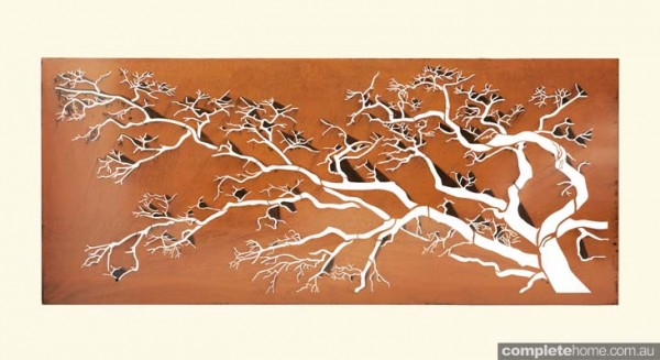 Laser-cut metal art: polarised tree design.