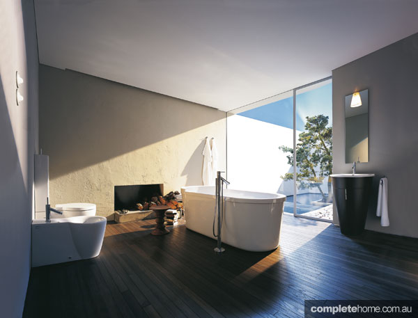 Bathroom with a courtyard view from Axor.