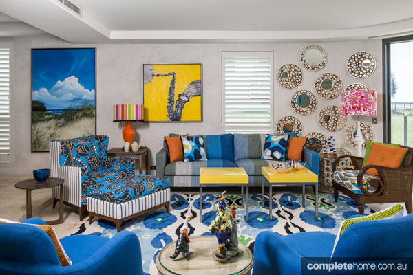 Bright yellow and blue living room from John Croft.