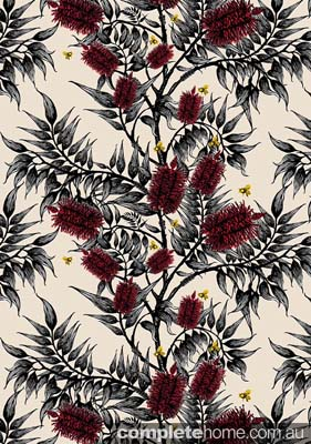Bottlebrush yellow wallpaper from Funky Wombat Textiles