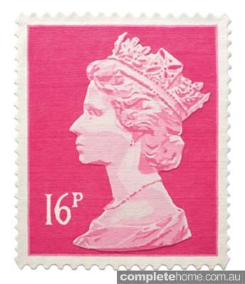 Pink queen stamp rug