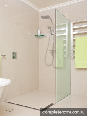 A seamless shower in a contemporary bathroom from All Bathroom Gear.