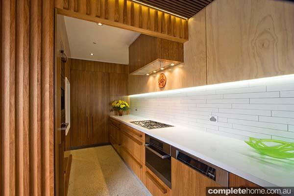 A warn timber kitchen design.