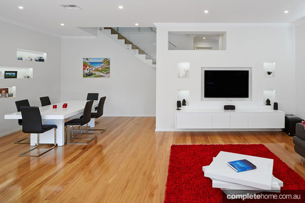 The living room in a contemporary duplex from M.A.G Constructions.