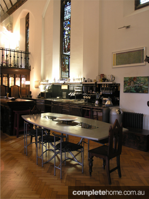 The dining room of a converted chapel in London.