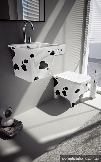 A unique cow print sink and toilet from Parisi.