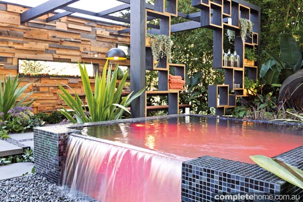 A spa and water feature in Cube2