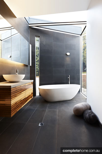 Glass bathroom in the Yellingbo house as featured in Grand Designs Australia.