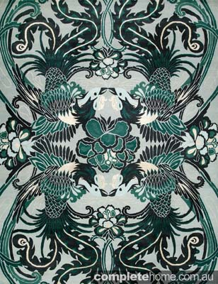 Green art deco rug by Catherine Martin.