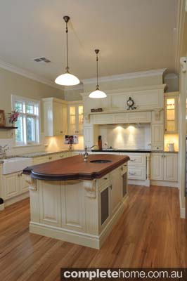A heritage style kitchen with solid timber flooring.
