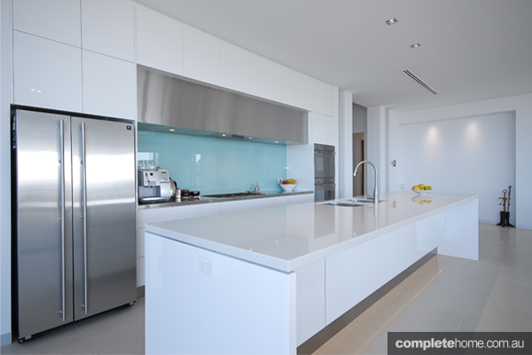 An innovative white kitchen design from Goolwa Kitchens and Wardrobes.