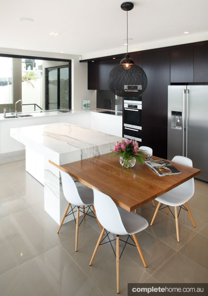 integrated benchtop dining table from art of kitchens