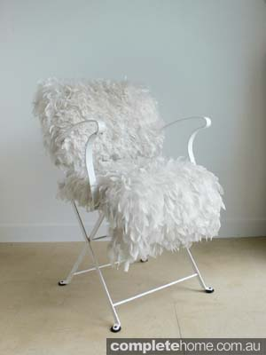 Spring style: white feather chair