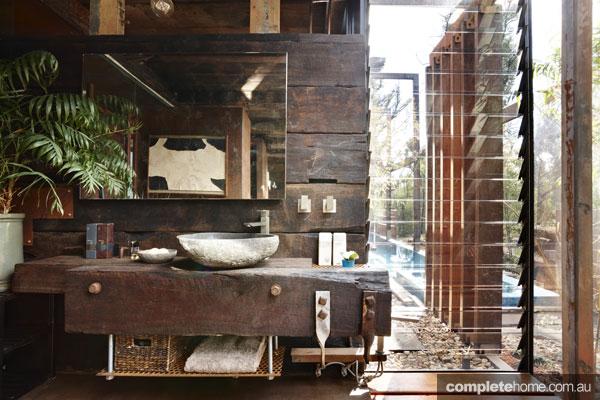 Bathroom in the Bushfire house as featured in Grand Designs Australia.