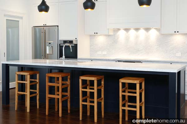 A complementary contemporary kitchen design from The Kitchen Place.