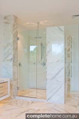 Beautiful shower featuring a frameless shower screen from Euroglass.