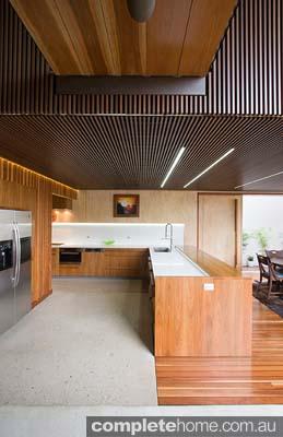 An impressive timber kitchen design.