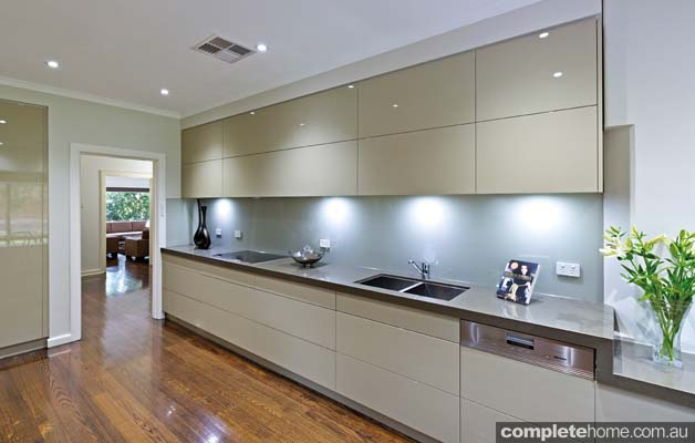 A simple, sleek and streamlined designer kitchen ...