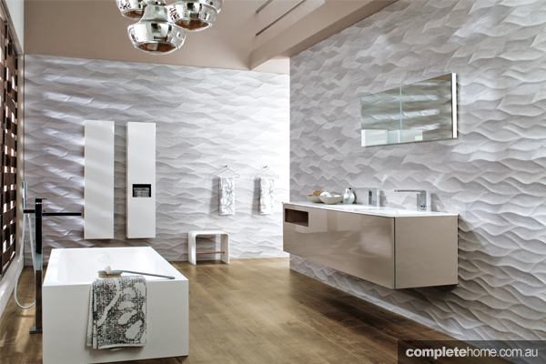 A bathroom featuring eco-friendly tiled flooring by Earp Bros.